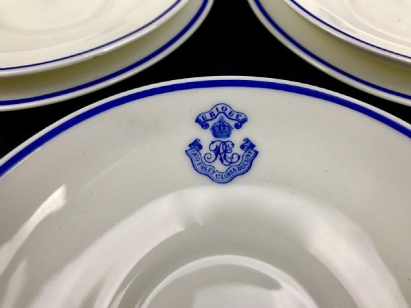 Royal Worcester Tea Set / WW1 / Royal Engineers Crest / Blue & White / RARE 1918